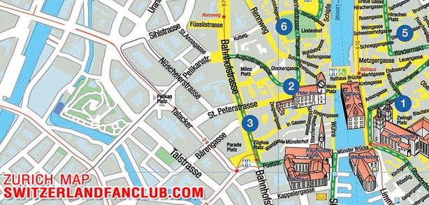 แผนที่ในเมืองซูริค พร้อม 10 สถานที่ท่องเที่ยวที่น่าสนใจ